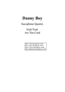 Danny Boy (Londonderry Air): For flexible saxophone quartet by folklore
