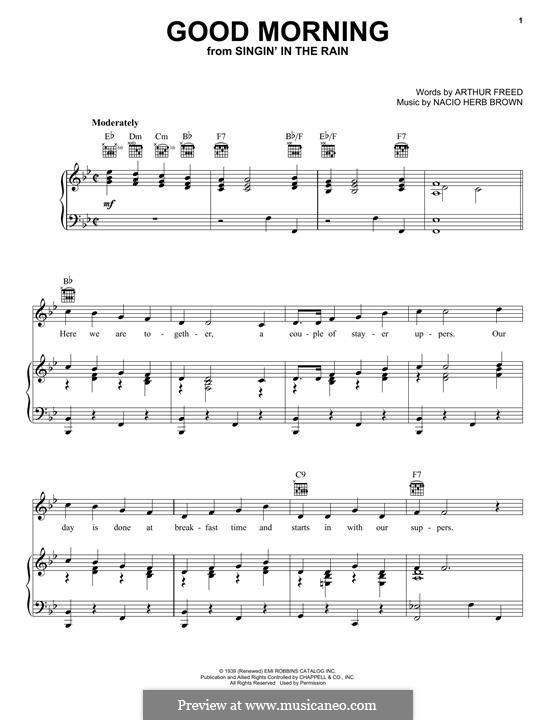 Good Morning (from Singin' in the Rain): Para vocais e piano (ou Guitarra) by Nacio Herb Brown