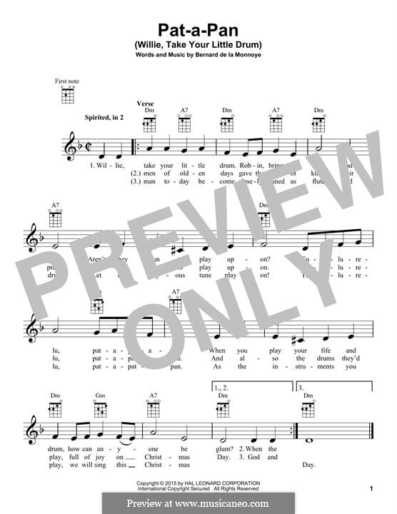 Pat-a-Pan (Willie, Take Your Little Drum): para ukulele by Bernard de la Monnoye