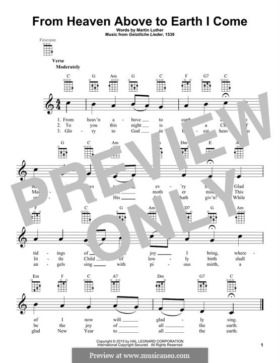 From Heaven Above to Earth I Come: para ukulele by Martin Luther