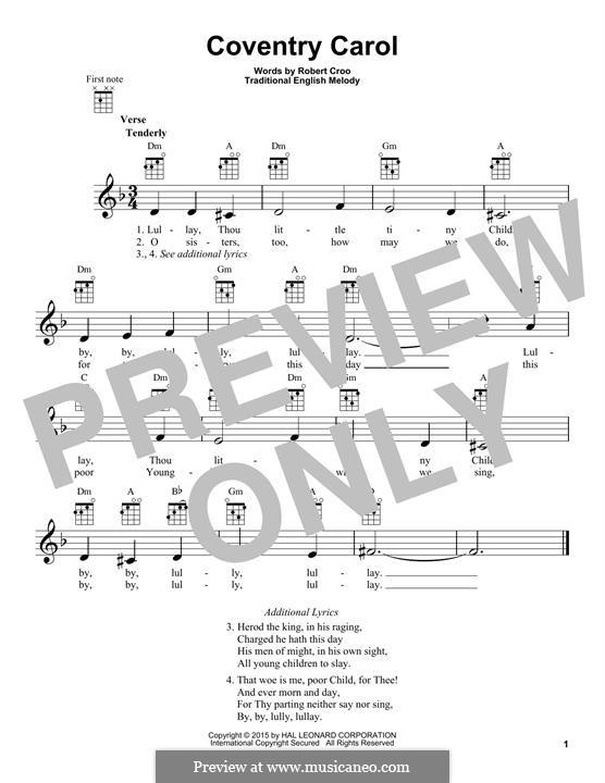 Coventry Carol: para ukulele by folklore