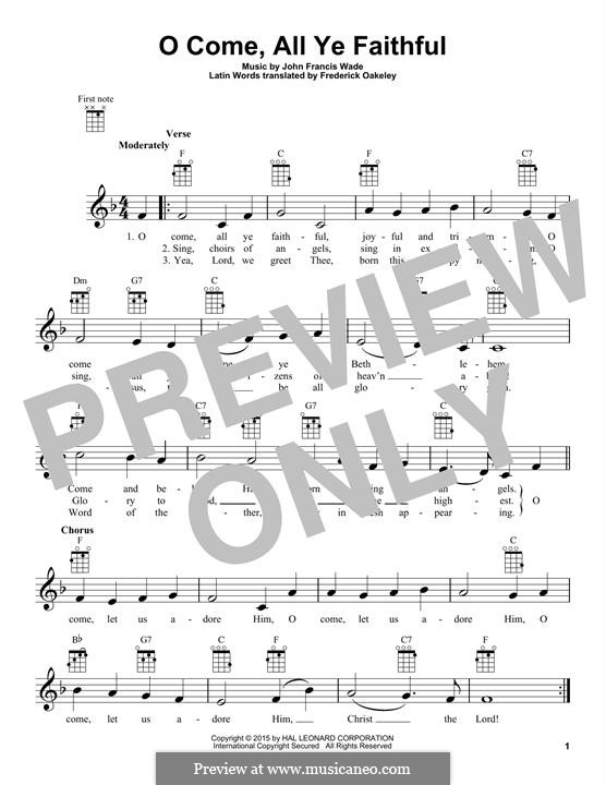 O Come, All Ye Faithful (Printable Scores): para ukulele by John Francis Wade