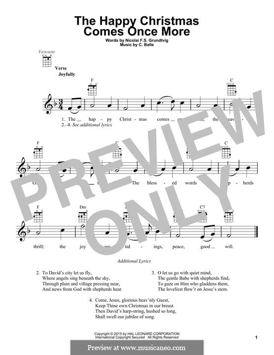 The Happy Christmas Comes Once More: para ukulele by C. Balle