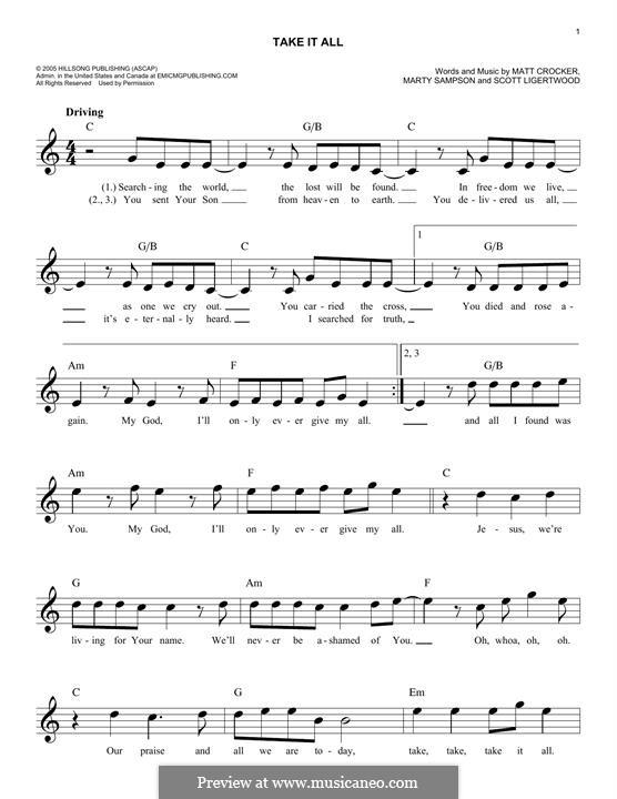 Take it All (Hillsong United): melodia by Marty Sampson, Scott Ligertwood, Matt Crocker