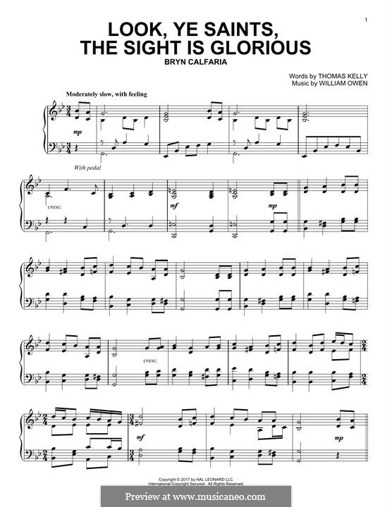 Look, Ye Saints! The Sight Is Glorious: Para Piano by William Owen