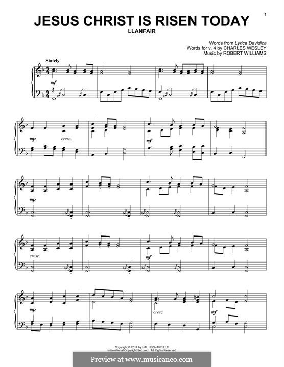 Jesus Christ Is Risen Today: Para Piano by Robert Williams