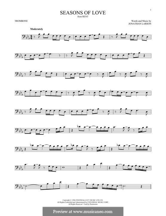 Seasons of Love (from Rent): para trombone by Jonathan Larson