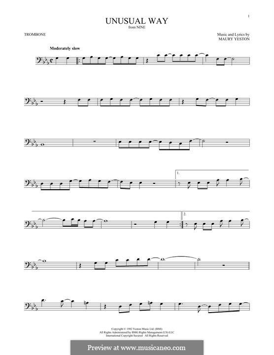 Unusual Way (In a Very Unusual Way): para trombone by Maury Yeston