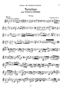 Variations for Violin and Guitar, Op.24: parte do violino by Mauro Giuliani