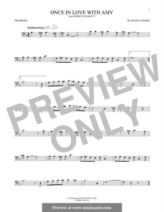 Once in Love with Amy (from Where's Charley?): para trombone by Frank Loesser