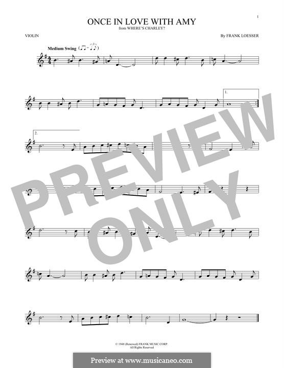 Once in Love with Amy (from Where's Charley?): para violino by Frank Loesser