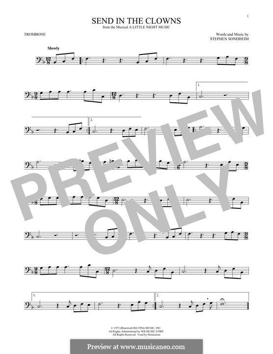 Send in the Clowns (from A Little Night Music): para trombone by Stephen Sondheim
