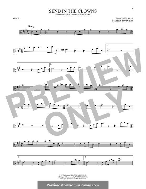 Send in the Clowns (from A Little Night Music): para viola by Stephen Sondheim