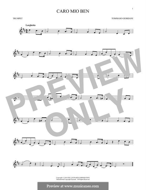 Caro mio ben (O Maiden Dear): para trompeta by Tommaso Giordani