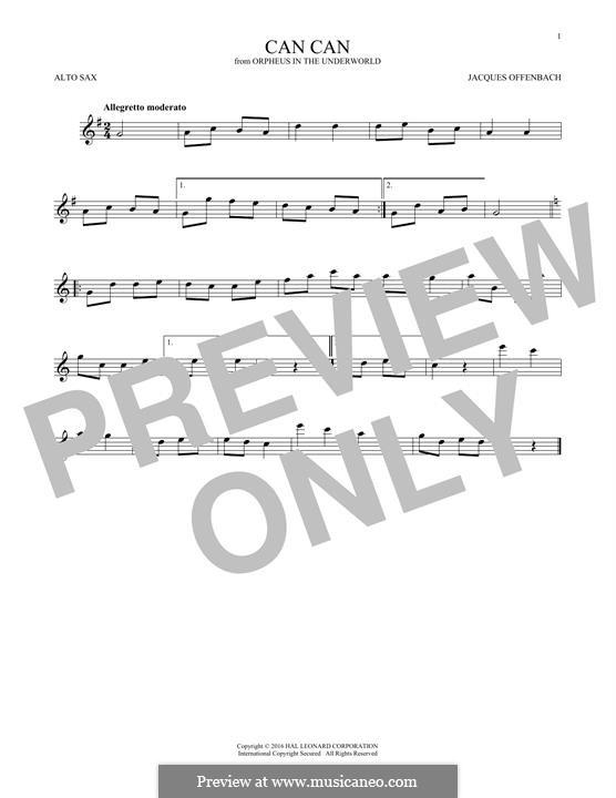 Can-Can (Printable Scores): para Saxofone Alto by Jacques Offenbach