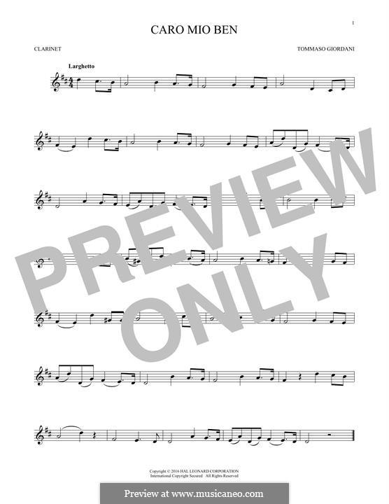 Caro mio ben (O Maiden Dear): para clarinete by Tommaso Giordani