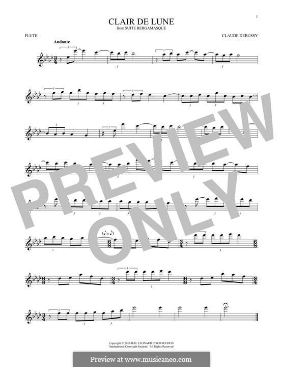 No.3 Clair de lune: para flauta by Claude Debussy