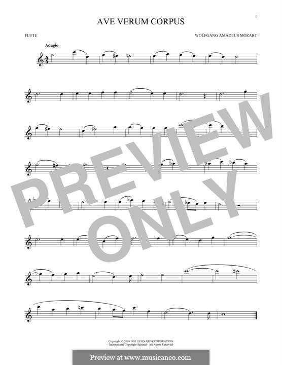 Ave verum corpus (Printabel Scores), K.618: para flauta by Wolfgang Amadeus Mozart