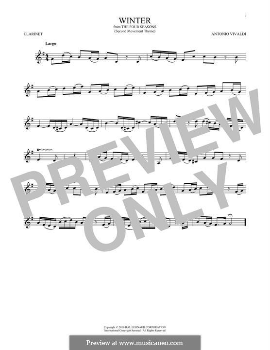 Violin Concerto No.4 in F Minor 'L'inverno', RV 297: Movement II. Arrangement for clarinet (Theme) by Antonio Vivaldi