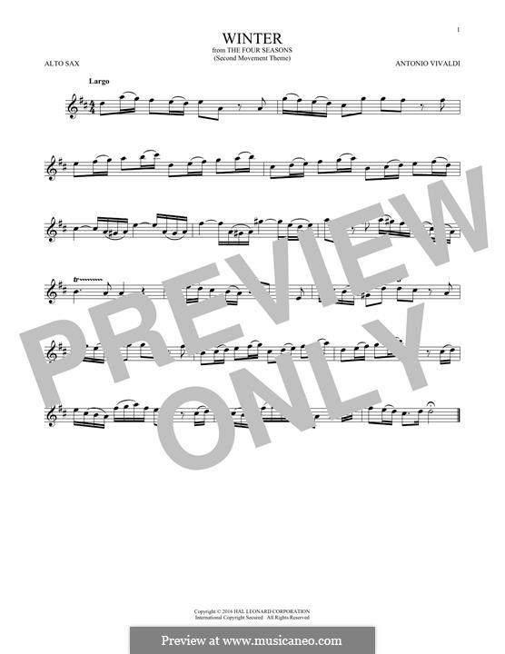 Violin Concerto No.4 in F Minor 'L'inverno', RV 297: Movement II. Arrangement for alto saxophone (Theme) by Antonio Vivaldi