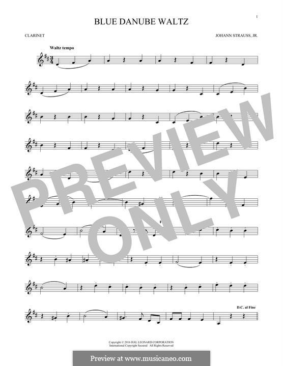 On the Beautiful Blue Danube, Op.314: para clarinete by Johann Strauss (Sohn)
