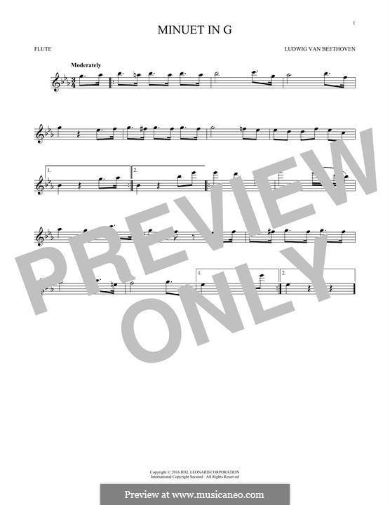 No.4 Minuet in G Major, BWV Anh.114: para flauta by Johann Sebastian Bach