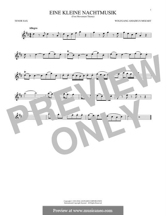 Allegro: Excerpt, for tenor saxophone by Wolfgang Amadeus Mozart