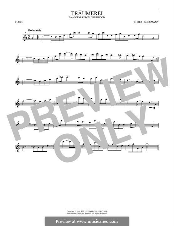 No.7 Träumerei (Dreaming): para flauta by Robert Schumann