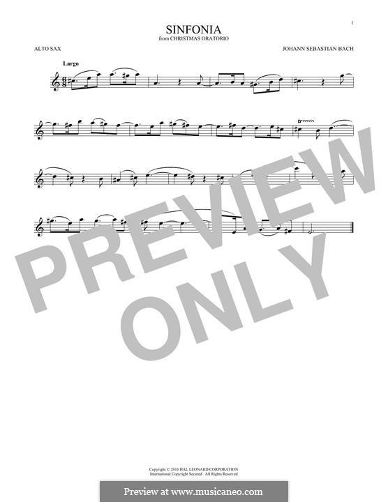 Weihnachts-Oratorium (The Christmas Oratorio), BWV 248: Sinfonia, for alto saxophone by Johann Sebastian Bach