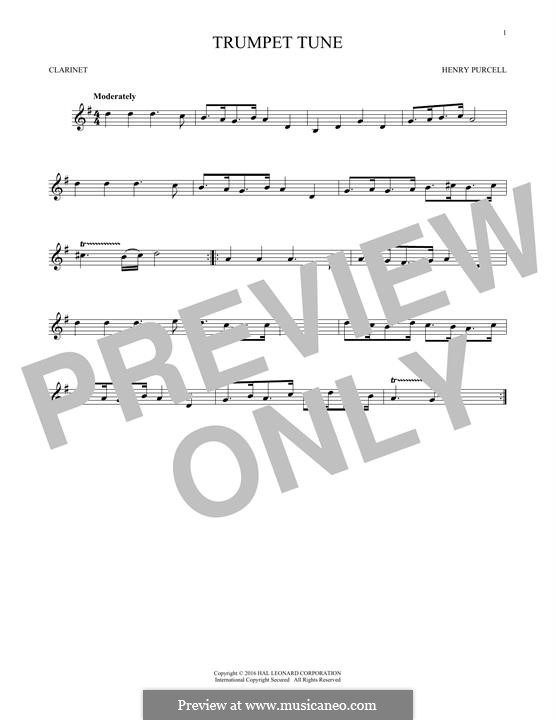 Trumpet tune and Air: para clarinete by Henry Purcell