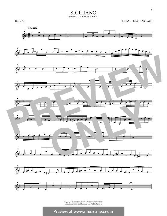 Sonata for Flute and Harpsichord No.2 in E Flat Major, BWV 1031: Siciliano. Arrangement for trumpet by Johann Sebastian Bach