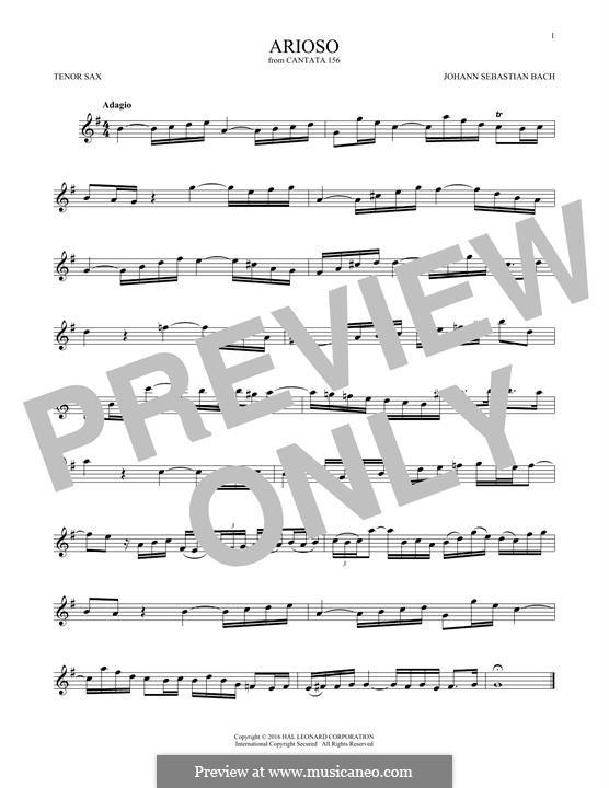 Arioso in G Major: para saxofone tenor by Johann Sebastian Bach