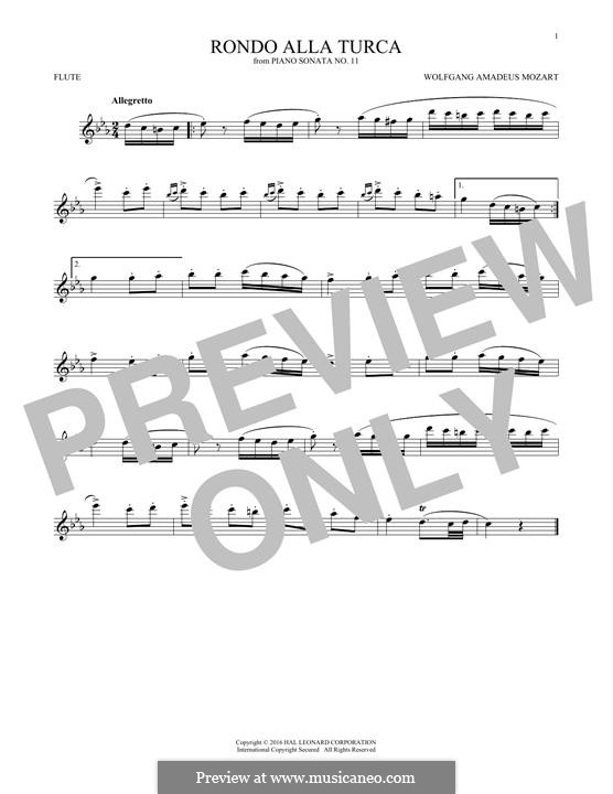 Rondo alla turca: For flute (fragment) by Wolfgang Amadeus Mozart