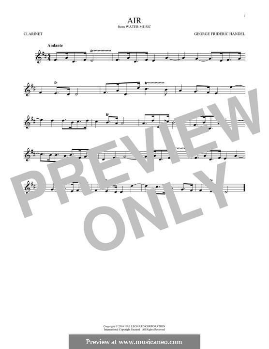 Suite No.1 in F Major – Aria, HWV 348: para clarinete by Georg Friedrich Händel