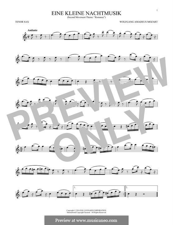 Romance: para saxofone tenor by Wolfgang Amadeus Mozart