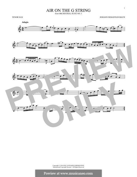 Aria (Printable Scores): Version for tenor saxophone by Johann Sebastian Bach
