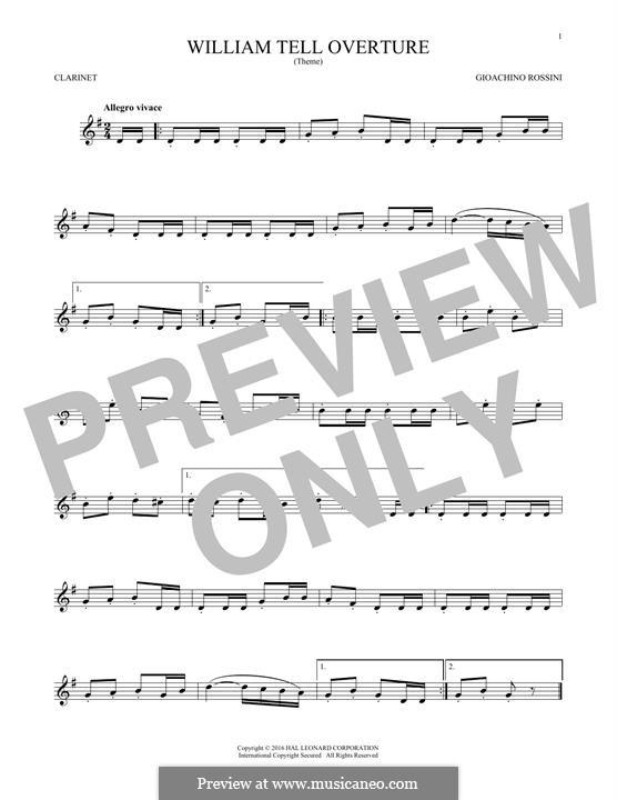 Overture (Printable Scores): para clarinete by Gioacchino Rossini