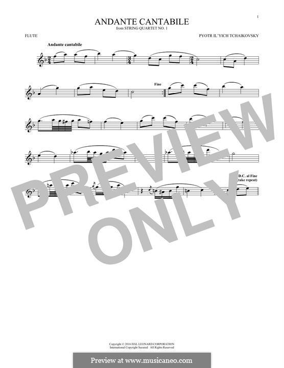 Movement II: Arrangement for flute (fragment) by Pyotr Tchaikovsky