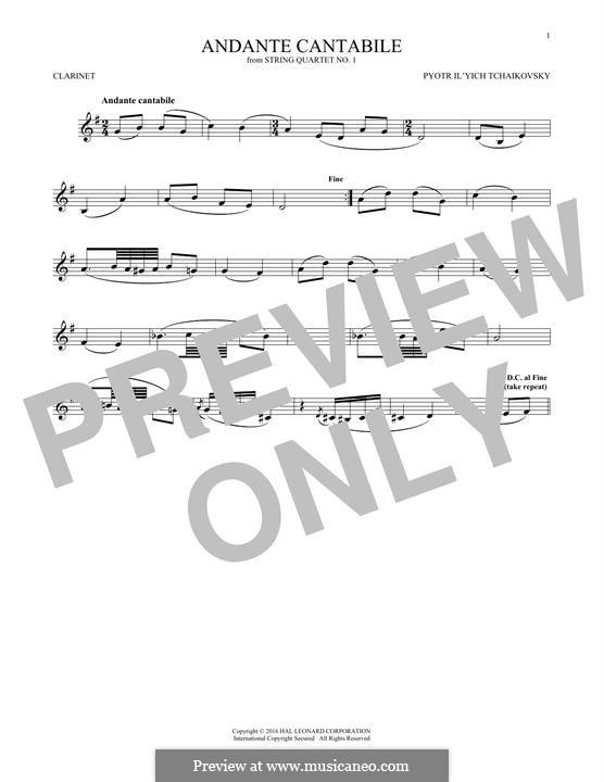 Movement II: Arrangement for clarinet (fragment) by Pyotr Tchaikovsky