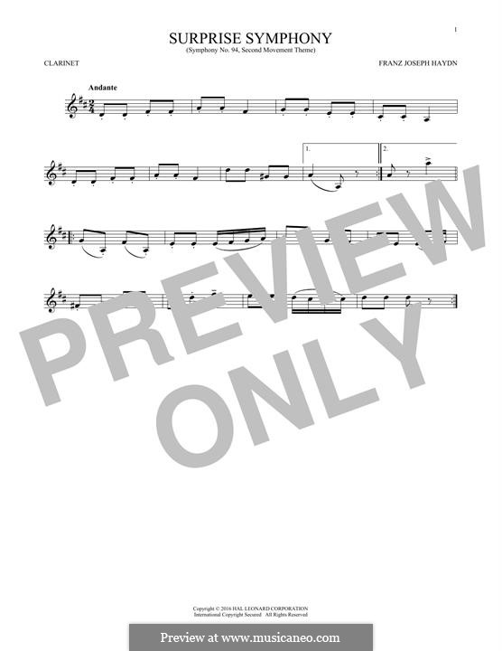 Movement II: Theme, for clarinet by Joseph Haydn