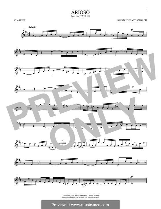 Arioso in G Major: para clarinete by Johann Sebastian Bach