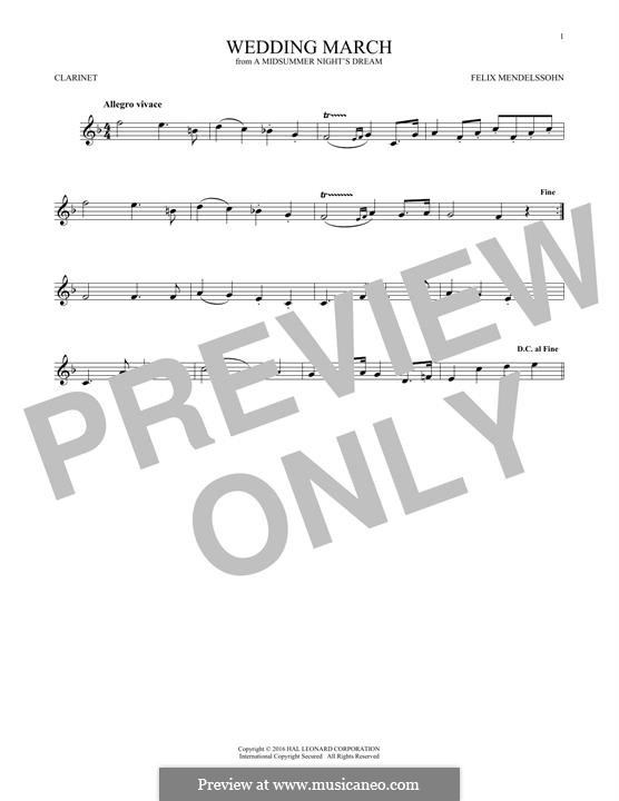 Wedding March (Printable Scores): Theme, for clarinet by Felix Mendelssohn-Bartholdy