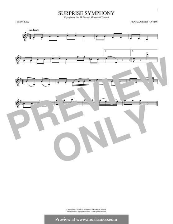 Movement II: Theme, for tenor saxophone by Joseph Haydn