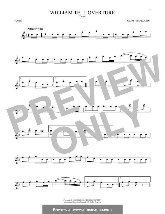 Overture (Printable Scores): para flauta by Gioacchino Rossini