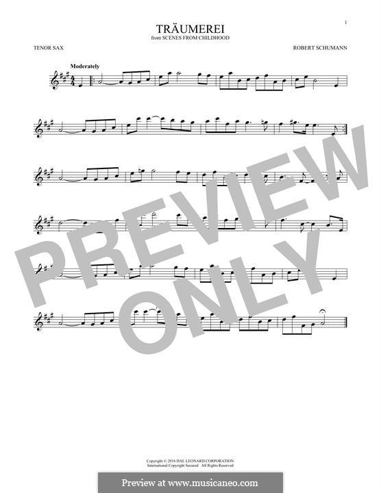 No.7 Träumerei (Dreaming): para saxofone tenor by Robert Schumann