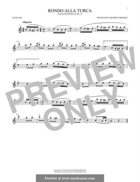 Rondo alla turca: For alto saxophone (fragment) by Wolfgang Amadeus Mozart