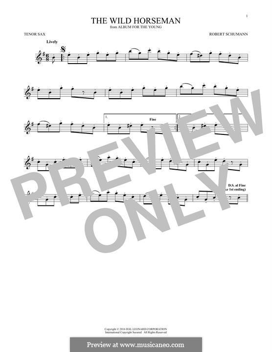 No.8 Wilder Reiter (The Wild Horseman): para saxofone tenor by Robert Schumann