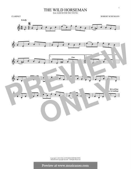 No.8 Wilder Reiter (The Wild Horseman): para clarinete by Robert Schumann