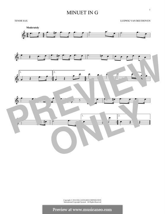 No.4 Minuet in G Major, BWV Anh.114: para saxofone tenor by Johann Sebastian Bach