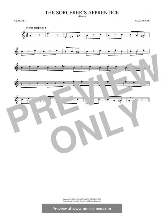 L'apprenti sorcier (The Sorcerer's Apprentice): para clarinete by Paul Dukas